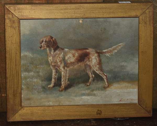Oil on board, Portrait of Setter, hunting dog, signed Edm. H. Osthaus (Edmund H. Osthaus) 6.5