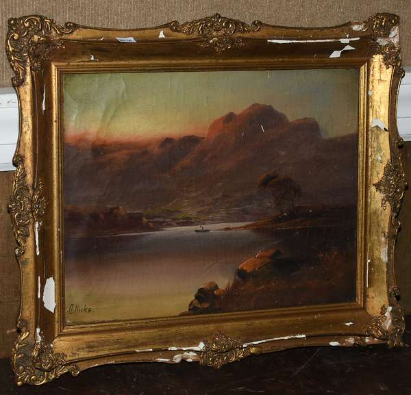 Oil on canvas board, mountain lake landscape, signed D. Hicks, 10.5