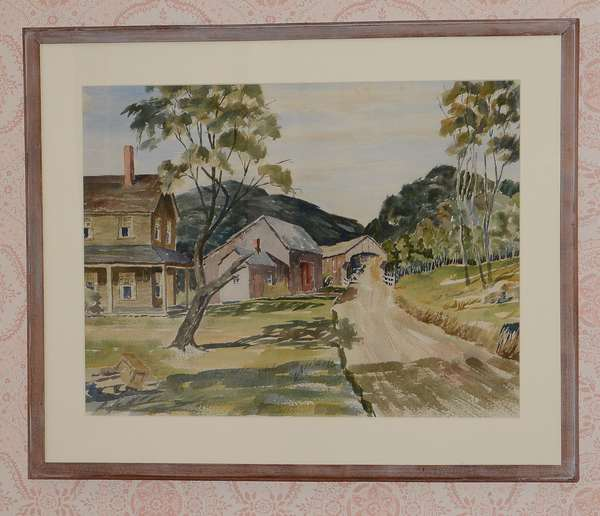 Watercolor country road with covered bridge (96-24)