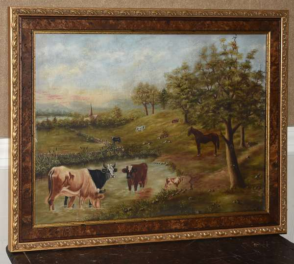 Primitive oil on canvas, pasture scene, signed L.A. Hungerford, 20.5