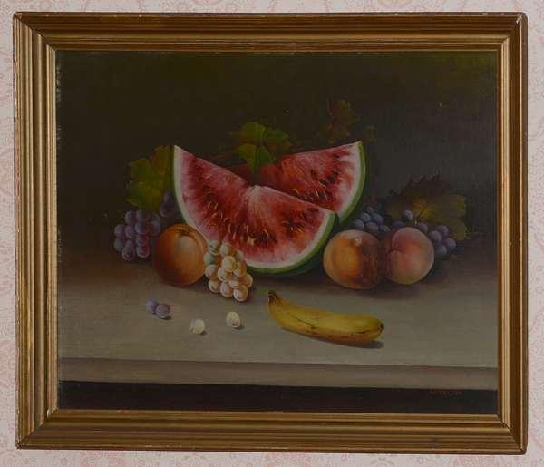 Antique oil on board, still life of fruit (96-25)