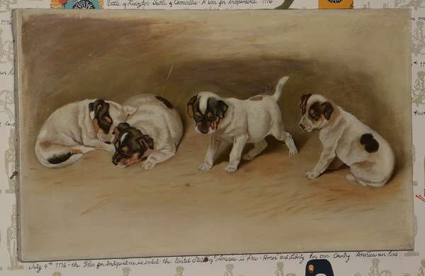Oil on canvas, puppies playing with a fly (96-27)
