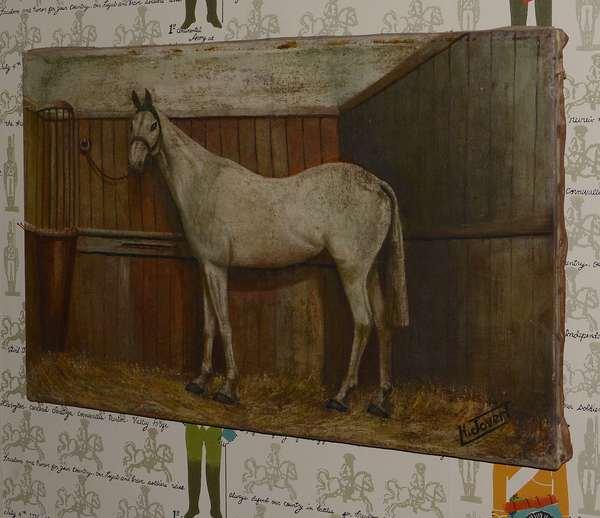 Oil portrait, profile of a horse, signed (96-28)