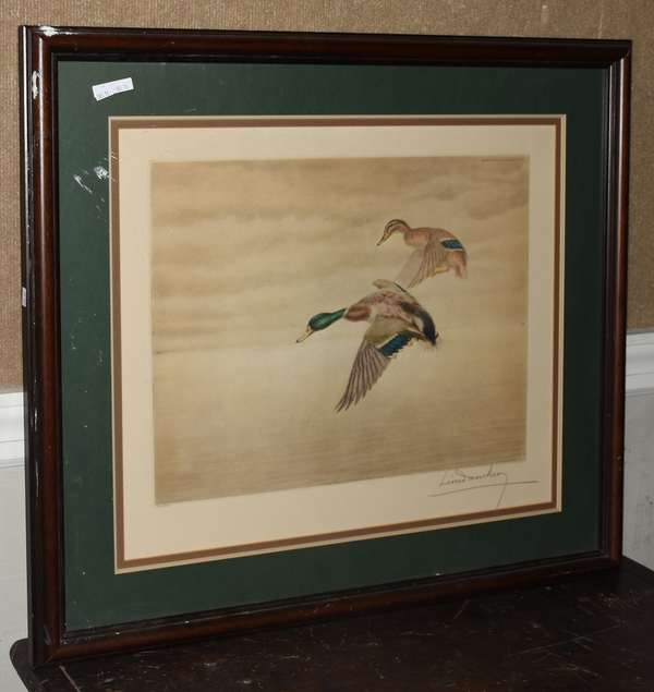 Lithograph by Leon Danchin, Mallards, numbered 327/500, 15