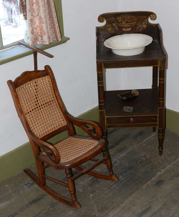*Items to be sold separately* Child's size maple Lincoln rocker (96-33)  Stencil decorated Sheraton wash stand (96-34)