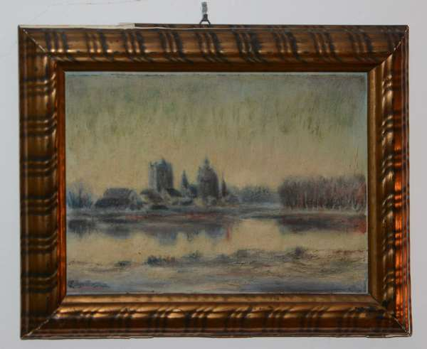 European school oil painting, illedgibly signed