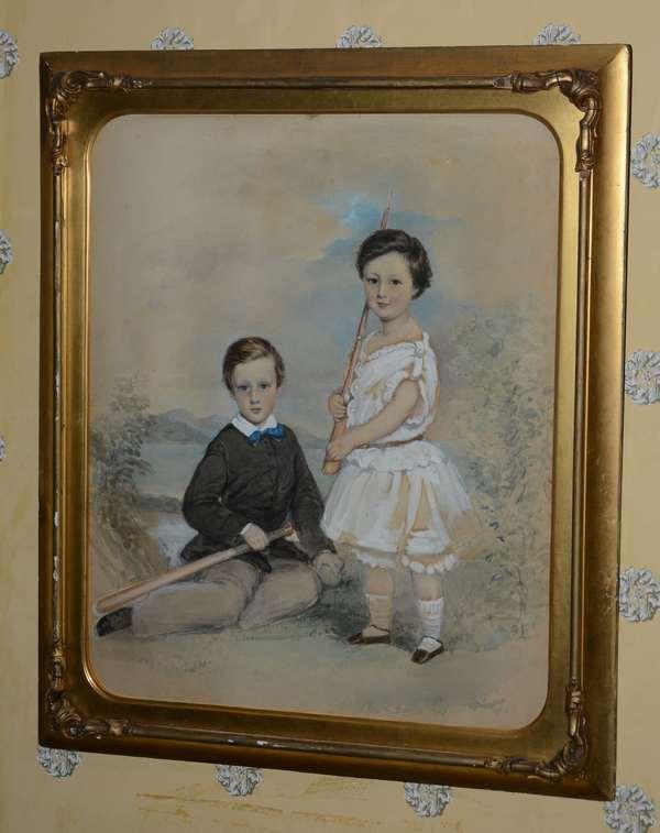 19th C. watercolor 2 children in landscape