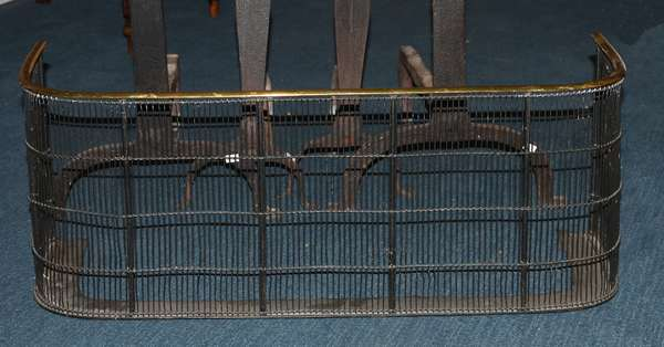 Early wire and brass fire place fender (105-68)