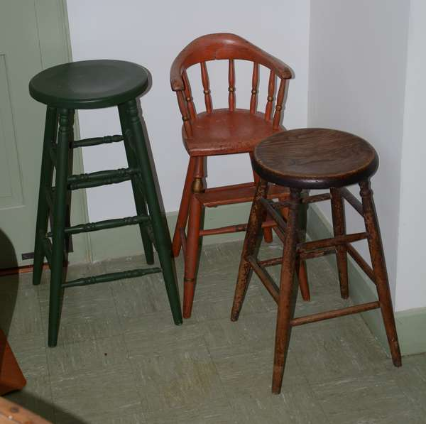 Kitchen stools and an antique child's high chair