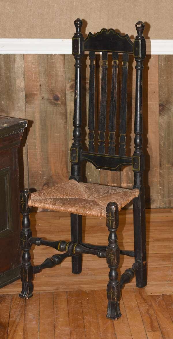 18th C. NE Spanish foot chair (105-62)