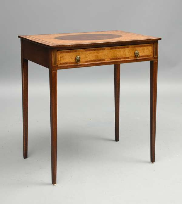 Federal mahogany one drawer stand with birdseye and rosewood inlays, possibly Boston, 30