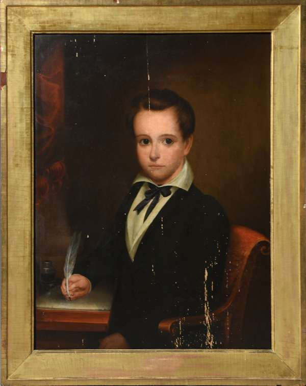 19th C. American school portrait painting on wood board, boy with quill writing, 28.5