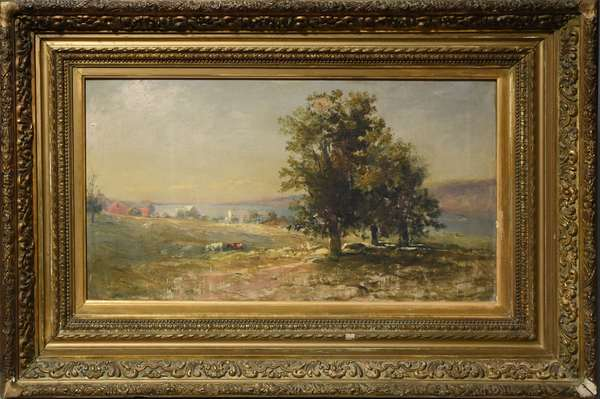 Oil on canvas, American landscape with house, river boats signed Arthur Teed, (Douglas Arthur Teed) 14