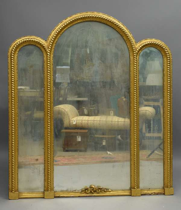 Unique early 19th C. Federal triptych pier mirror, gilt with roped carved frame, Bedminster NY Prov. 64