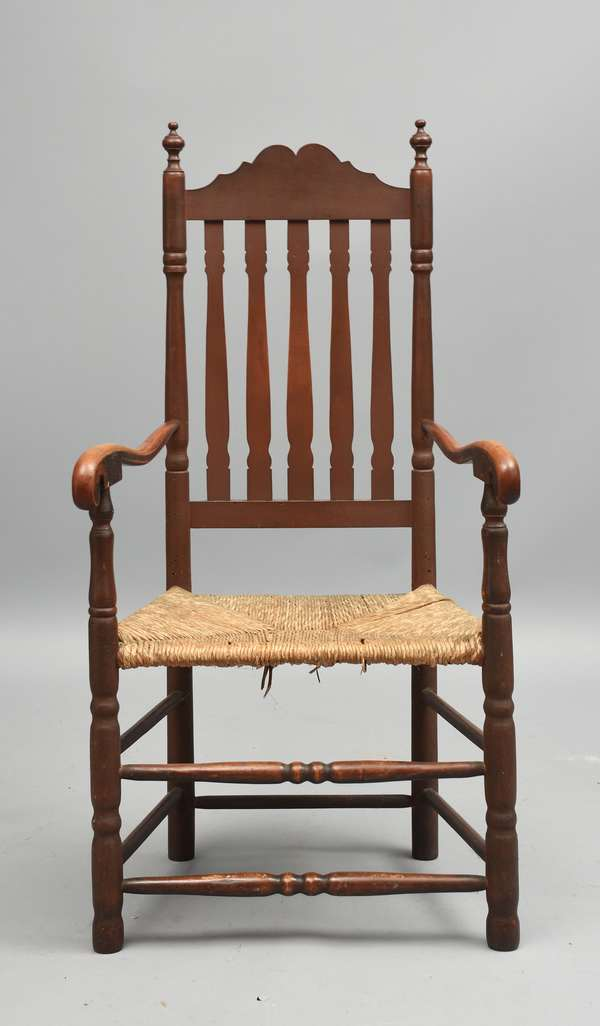 18th C. New England bannister back armchair in old red paint, likely Portsmouth NH, back 47