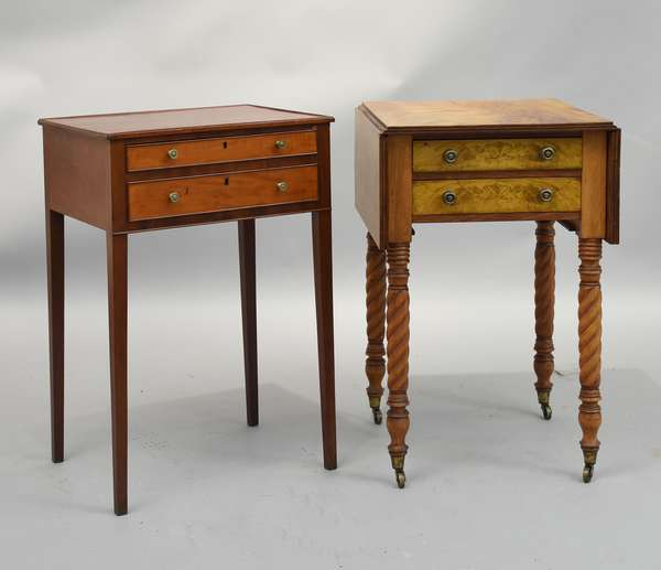 Period Federal stands, Hepplewhite mahogany two drawer stand on delicate tapered legs with a Sheraton roped leg stand with a Sheraton roped leg stand with two drawers, rich crotch mahogany graining, ca.1820