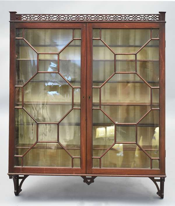English Chippendale mahogany hanging cabinet with sectional glass doors, 35