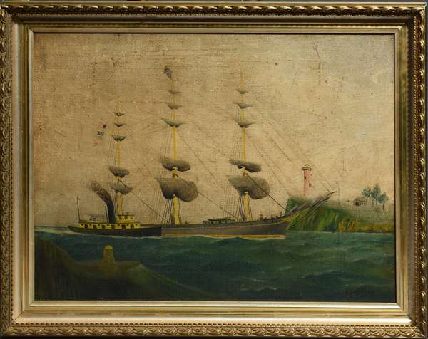 Folky 19th C. oil on canvas marine scene with light house, signed Oliver Nelson