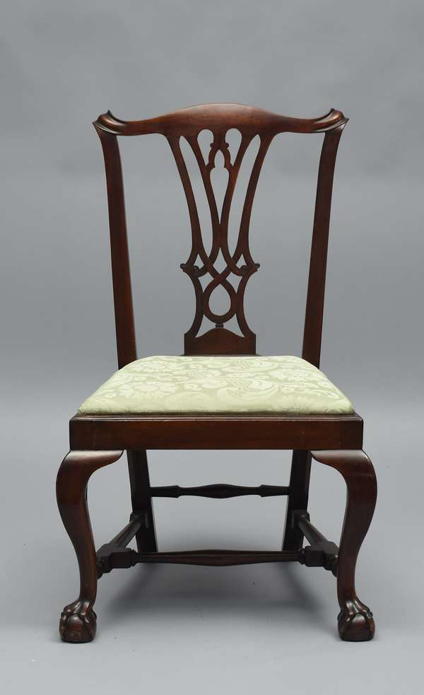 Fine Chippendale Boston mahogany side chair with stretcher base and claw n ball feet, ca.1785