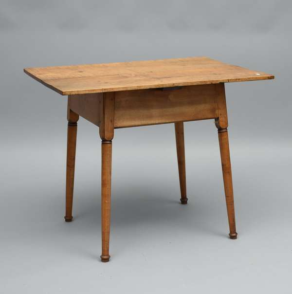 Late 18th C. New England tiger maple rectangular top button foot tavern table, 26