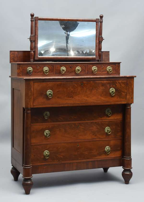 Good Boston Classical deck top chest with dressing mirror top, column ends, original brass, with makers mark of Soloman Loud, Boston, ca.1830, 41.5
