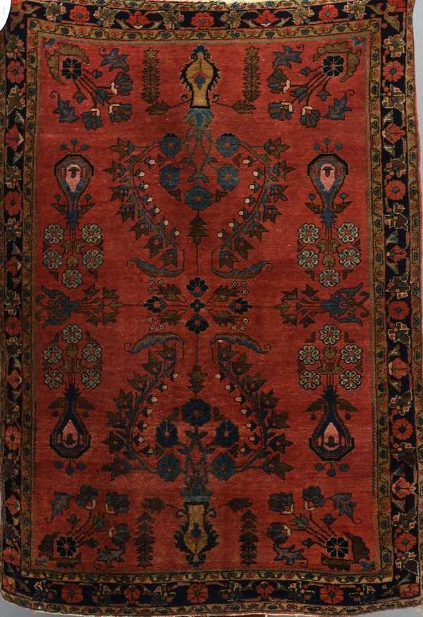 Antique Sarouk scatter rug, red ground, 3'4