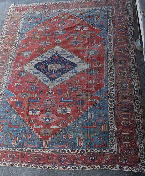 Fine antique room size Heriz oriental rug, 12' x 17'