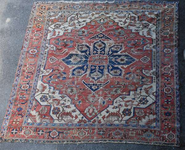 Antique room size Heriz rug, 11'9