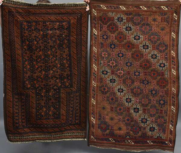 Two small Oriental rugs: Turkish with repeating medallion pattern, 3'1