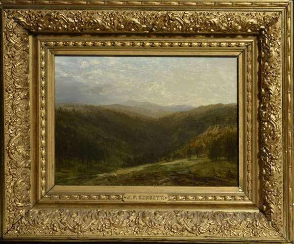 Oil on canvas, mountain landscape John F. Kensett, with label on reverse, Norwich VT estate, 10.5