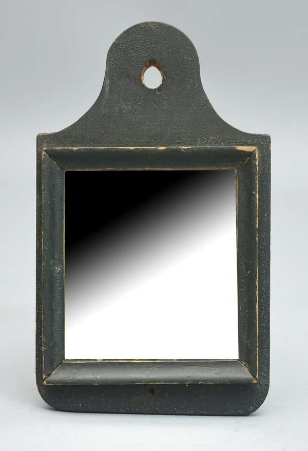 Early Queen Anne green painted small wall mirror, 11