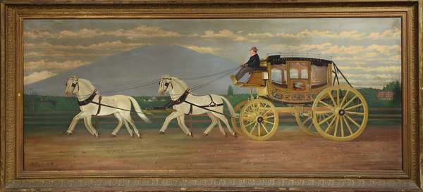 Wonderful 19th C. oil on canvas, the Abbott-Downing Concord Coach, Concord, N.H., with a view of Mt. Monadnock in background by S. Pezzoli 1888 with history , 24