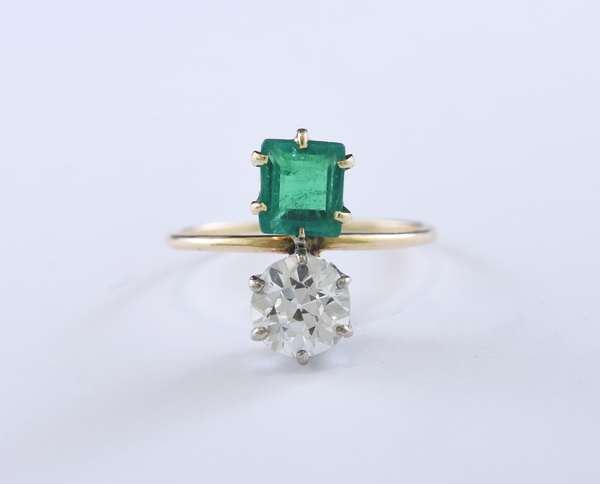 Emerald and diamond yellow gold ring, approx. 1.0 ct old European cut diamond is set in platinum, the emerald is approx. .80 ct, size 6, 2.3 grams (J-VVS emerald, very nice)