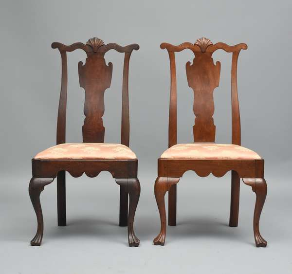 Pair of 18th C. PA. walnut Queen Anne transitional side chairs with shell carved crest trifed feet, seat height 18