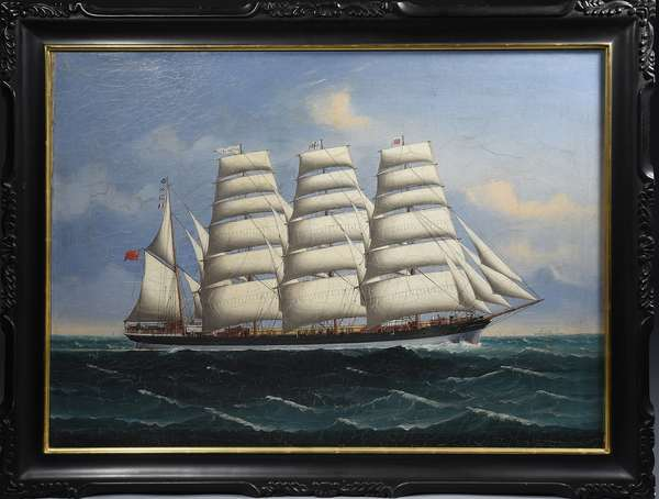 19th C. oil painting, Chinese trade portrait of a Canadian four masted clipper ship, 25.5