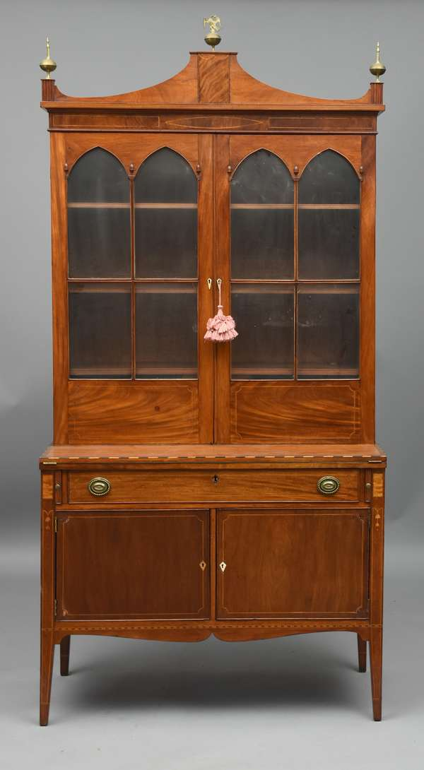 """The John Langdon Federal Boston secretary desk with bookcase top, workshop of John Seymour with, Seymour type inlays, blue interior and acorn carving, 39.5""""w 84""""H, Prov: Serving as NH Governor 1785, then as US Senator 1789-1801, John Langdon born in Portsmouth NH owned this secretary. Accompanying this lot is an affidavit dated 1949 written by John Parkhurst family member attesting to the John Langdon ownership."""