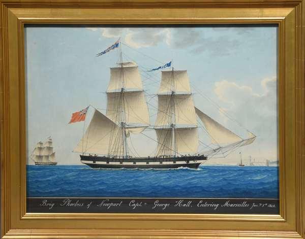 Watercolor/gouache sailing ship