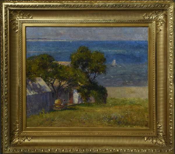 Joseph Foxcroft Cole oil on canvas, cottage near Annisquam, signed and dated lower right, included in 62nd Annual Exhibition at the Pennsylvania Academy of the Fine Arts, label on reverse, 18.25