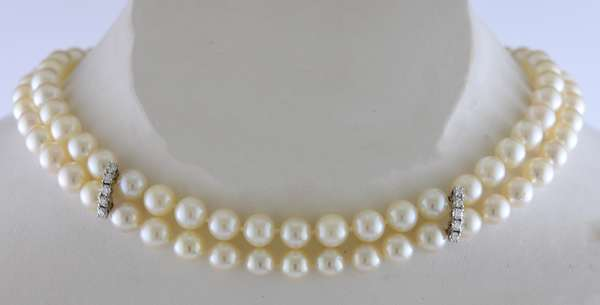 Mikimoto double strand pearl necklace choker style 14
