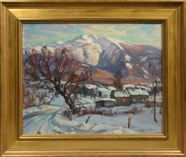 Oil on board, Mt. Mansfield with farm, signed Thos. R. Curtin, 16