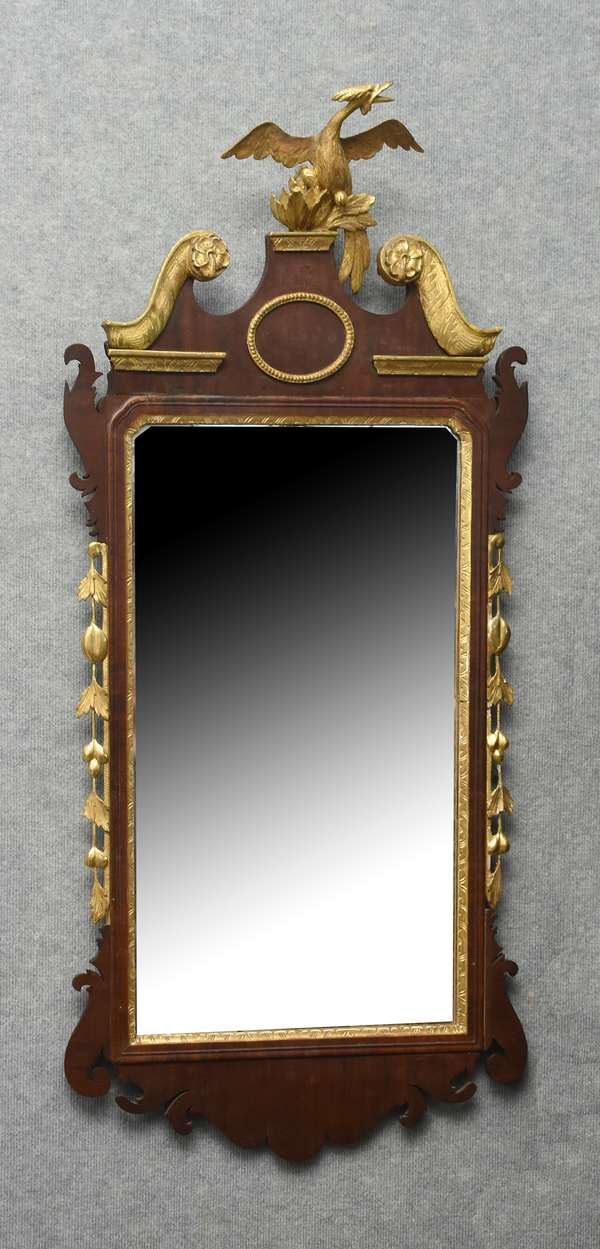 Fine late 18th C. Chippendale mahogany wall mirror with carved and gilt Phoenix bird crest and side garlands, 48