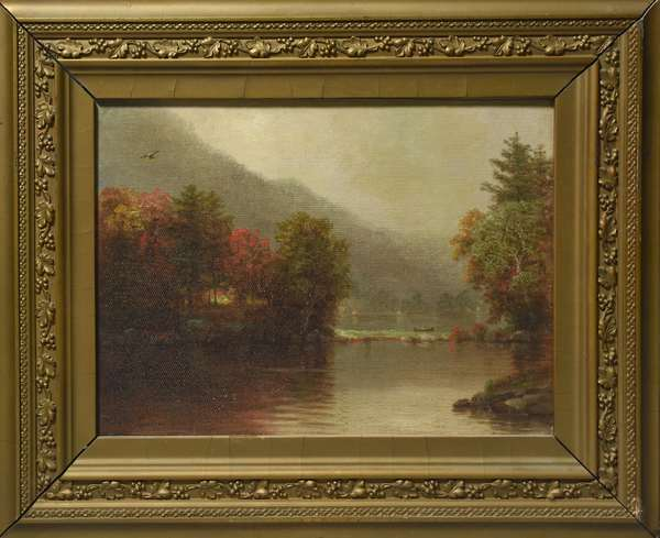 Oil on canvas, Lake George, signed N.A. Moore, 9.5