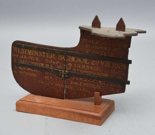 Vintage 1924 rowing rudder from Westminster School, with coat of arms and team list, 13
