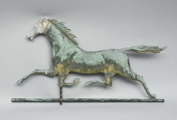 Late 19th C. running horse weathervane with zinc head and old surface, 30