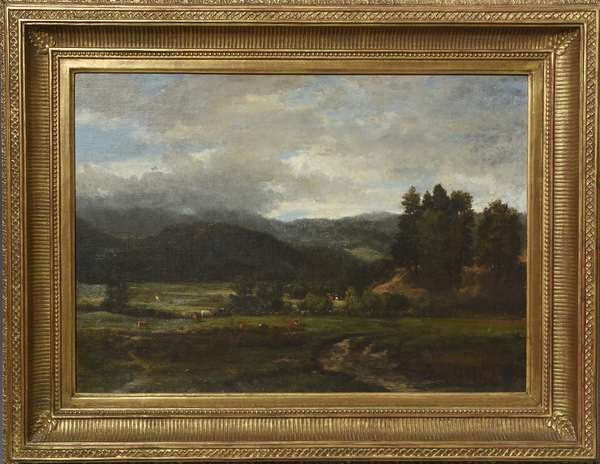 Oil on canvas by Winckworth Allan Gay, landscape with cows signed lower left W.A. Gay 1858, 14.5