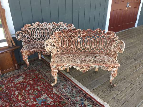 "Pair of 19th C cast iron benches 44"" l"