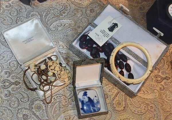 Chinese bangle bracelet, bone/ivory necklace/beads, porcelain pin Chinese