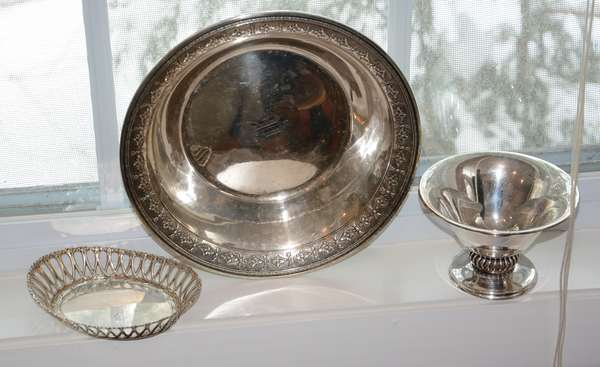 Three sterling pieces, compote, bowl, etc. (66-13)