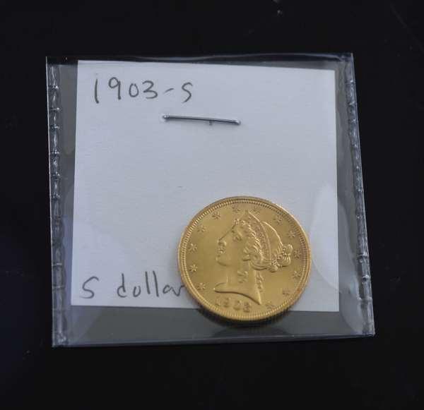 1903-S 5 dollar gold