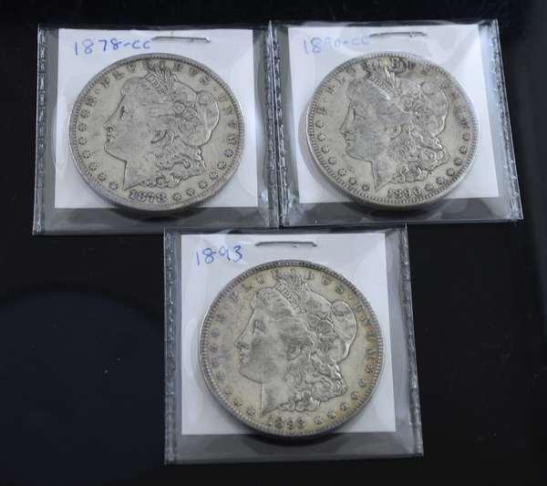 1878-cc, 1890-cc and 1893 Morgan silver dollars